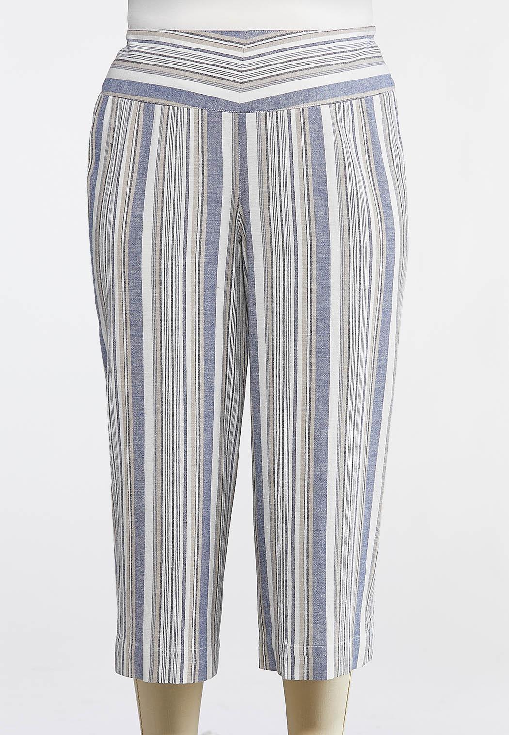 Plus Size Cropped Stripe Linen Pants
