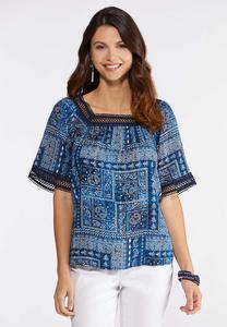 Blue Bandana Crochet Trim Top