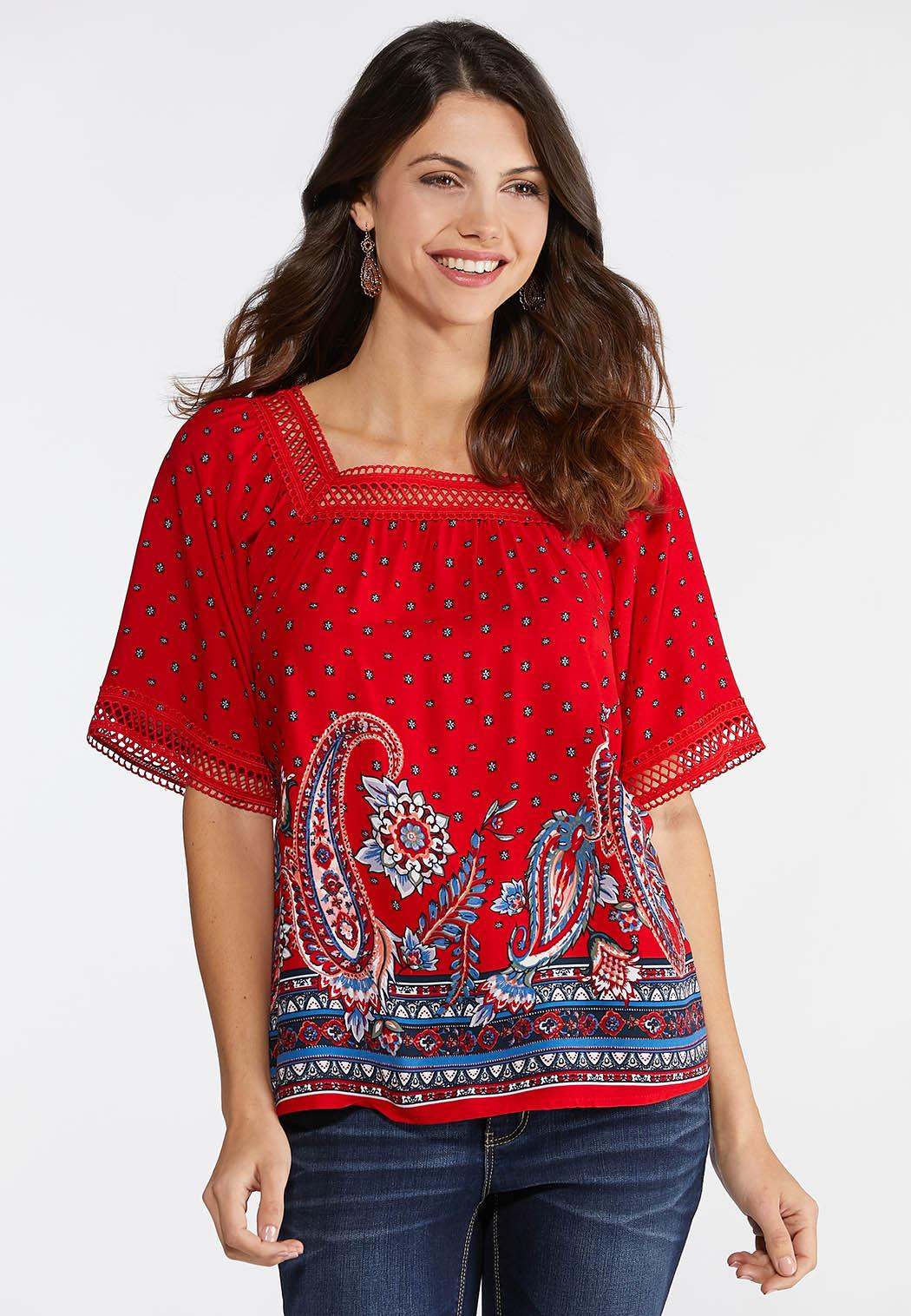 e4085d2eb65085 Plus Size Square Neck Paisley Poet Top Shirts   Blouses Cato Fashions