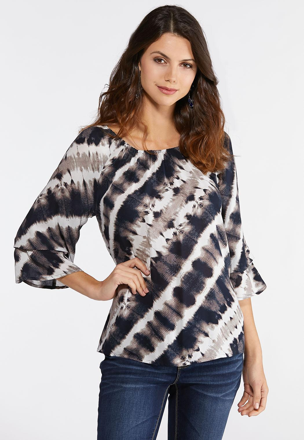 b1510a8594cdc Plus Size Tie Dye Off The Shoulder Top Shirts   Blouses Cato Fashions