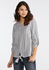 Mixed Stripe Tie Front Top