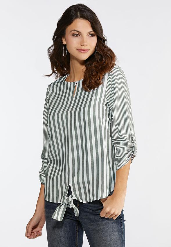 ae58671d3f6 Mixed Stripe Tie Front Top Shirts   Blouses Cato Fashions