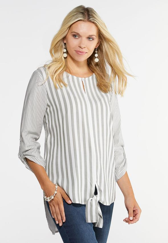 132ce992708 Plus Size Mixed Stripe Tie Front Top Shirts   Amp   Blouses Cato Fashions