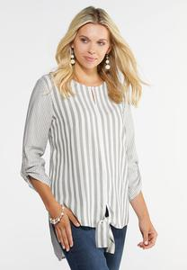Plus Size Mixed Stripe Tie Front Top