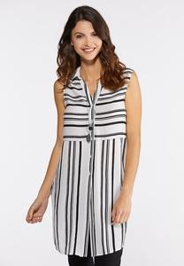 Plus Size Stripe Button Front Tunic