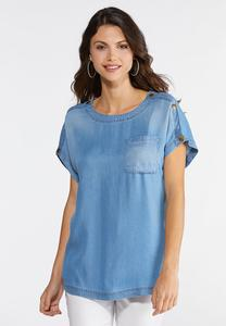 Button Shoulder Chambray Top