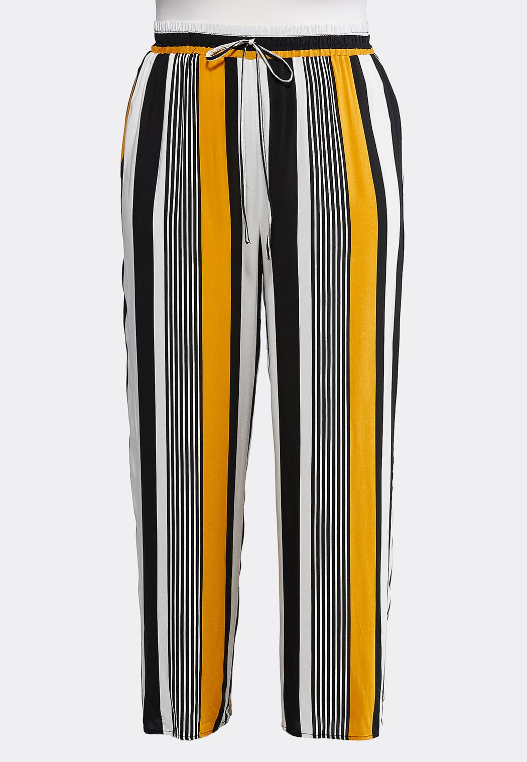 Plus Size Golden Stripe Palazzo Pants