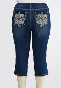 Plus Size Cropped Sparkle Swirl Jeans
