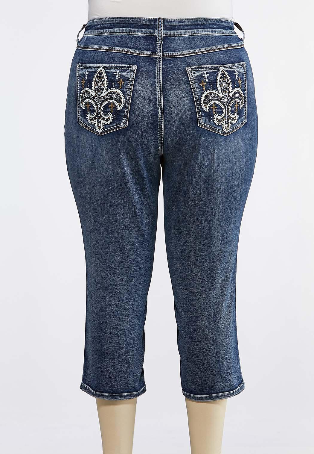 Plus Size Cropped Fleur De Lis Pocket Jeans