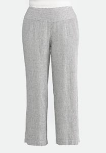Plus Size Multi Stripe Linen Pants