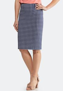 Plus Size Checkered Pencil Skirt