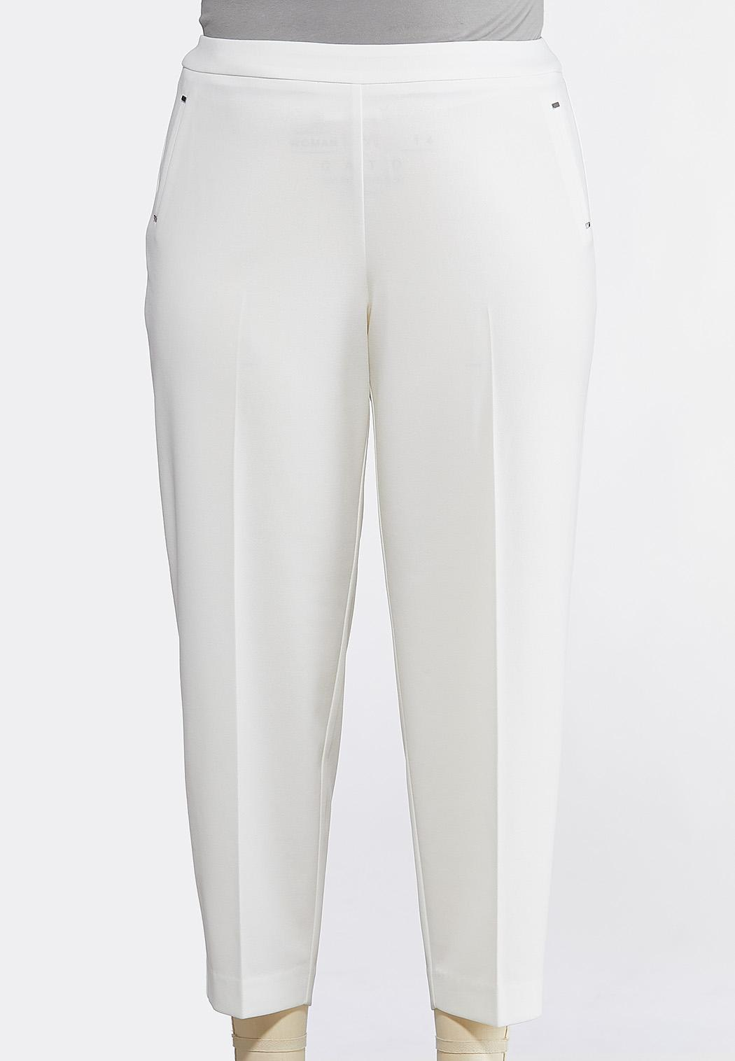 Plus Size Solid Pull-On Pants