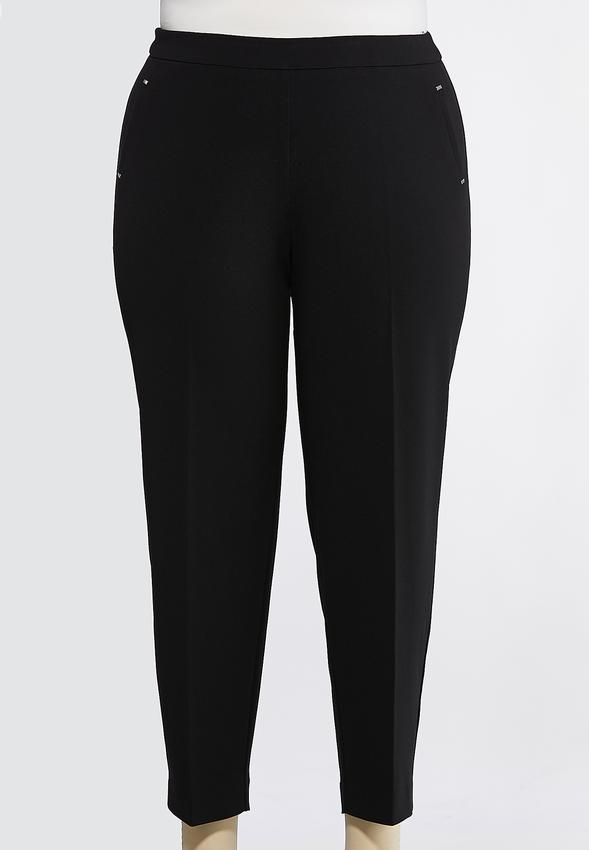 Plus Size Solid Pull- On Pants Slim Cato Fashions