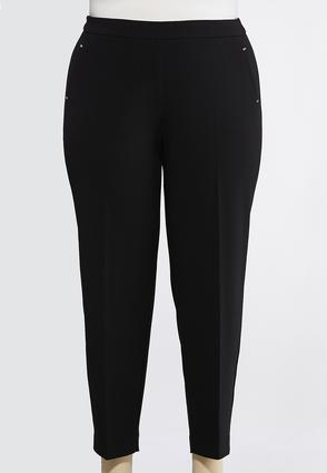 Plus Size Solid Pull- On Pants