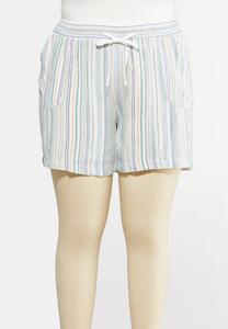 Plus Size Drawstring Stripe Linen Shorts