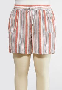 Plus Size Drawstring Stripe Linen Shorts