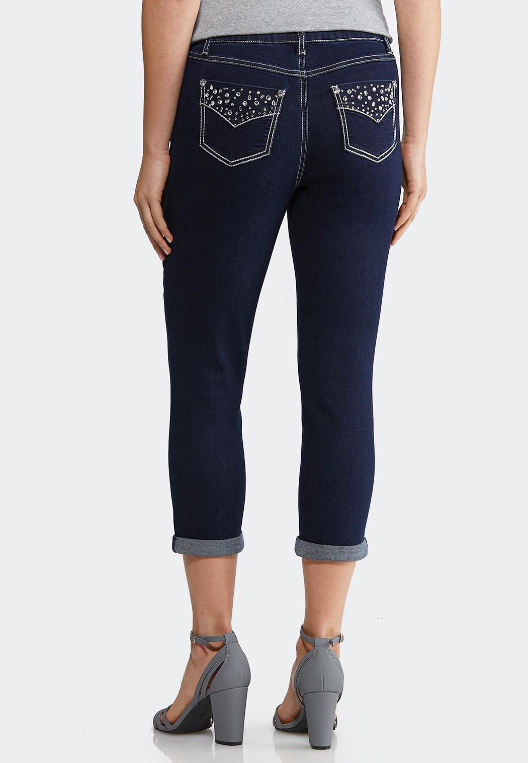 100% genuine 100% satisfaction guarantee classic fit Cropped Crystal Embellished Jeans Cropped Pants Cato Fashions