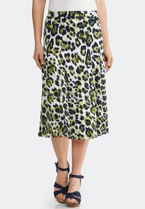 Plus Size Animal Print Midi Skirt