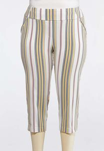 Plus Size Neutral Stripe Bengaline Crops