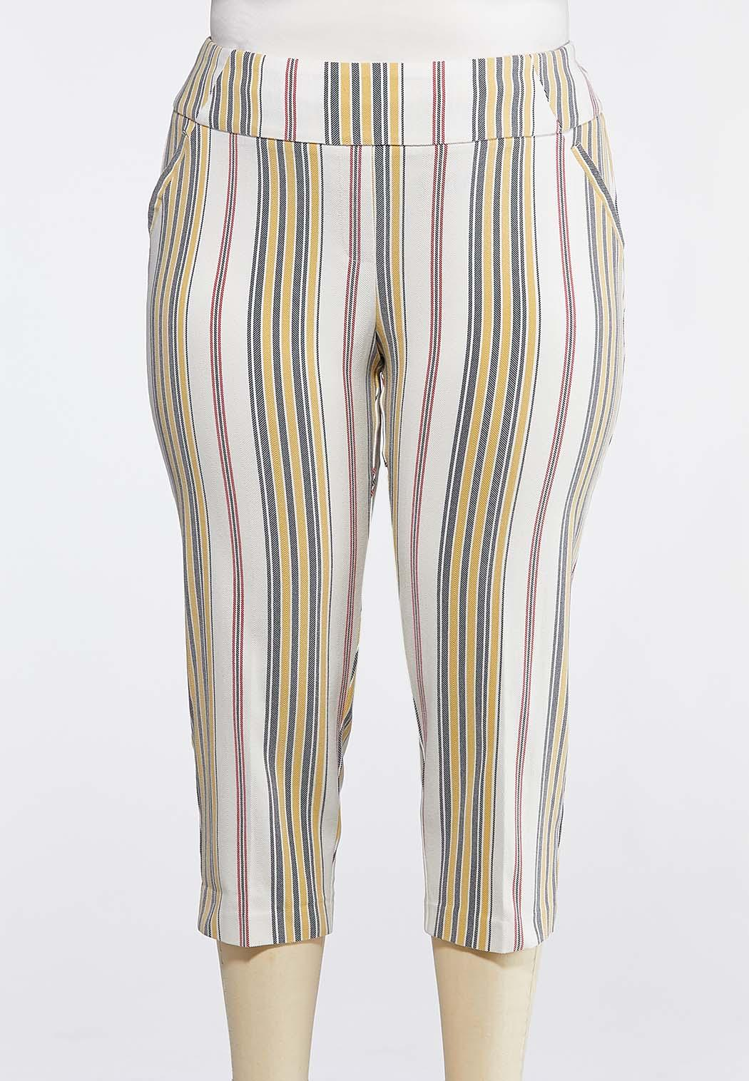 a656e0afefc957 Plus Size Neutral Stripe Bengaline Crops Cropped Pants Cato Fashions