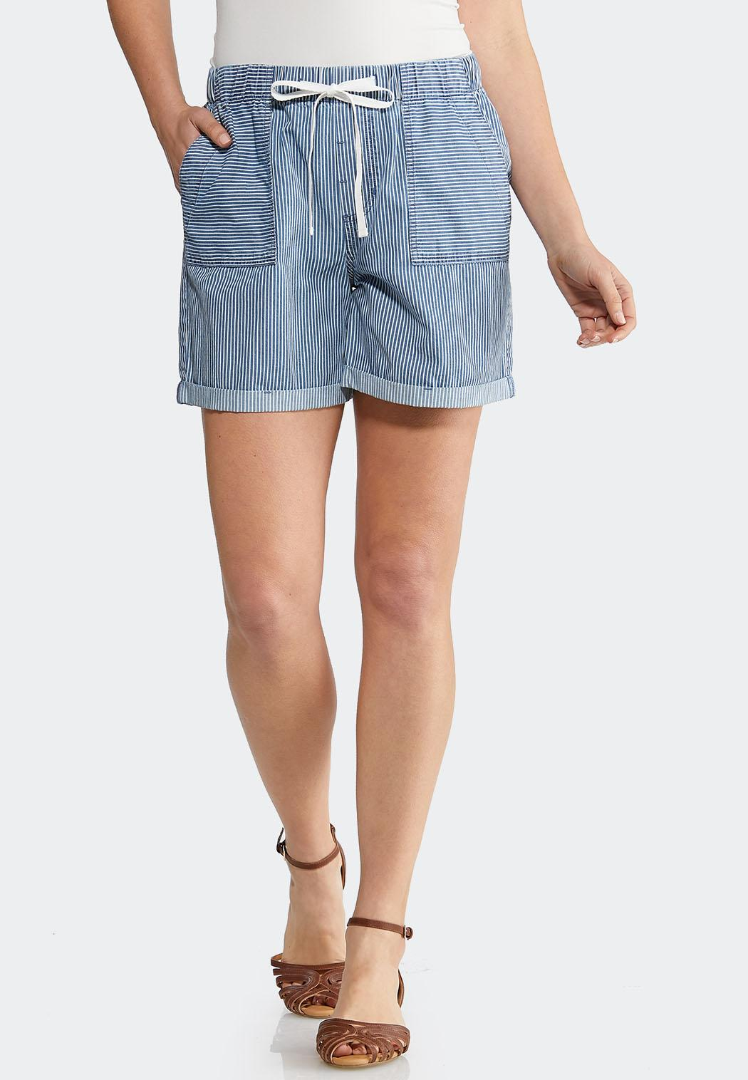 Stripe Tencel Shorts