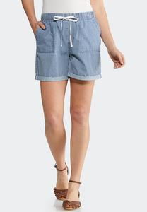 Stripe Tencel Shorts