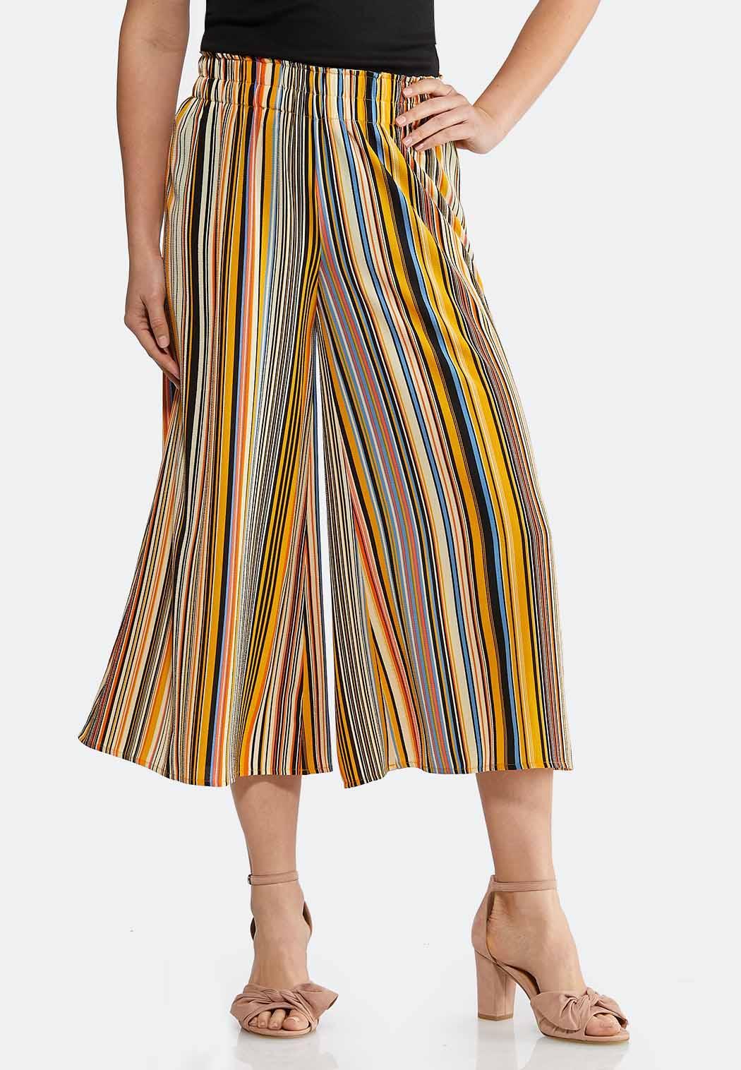 Cropped Golden Stripe Pants