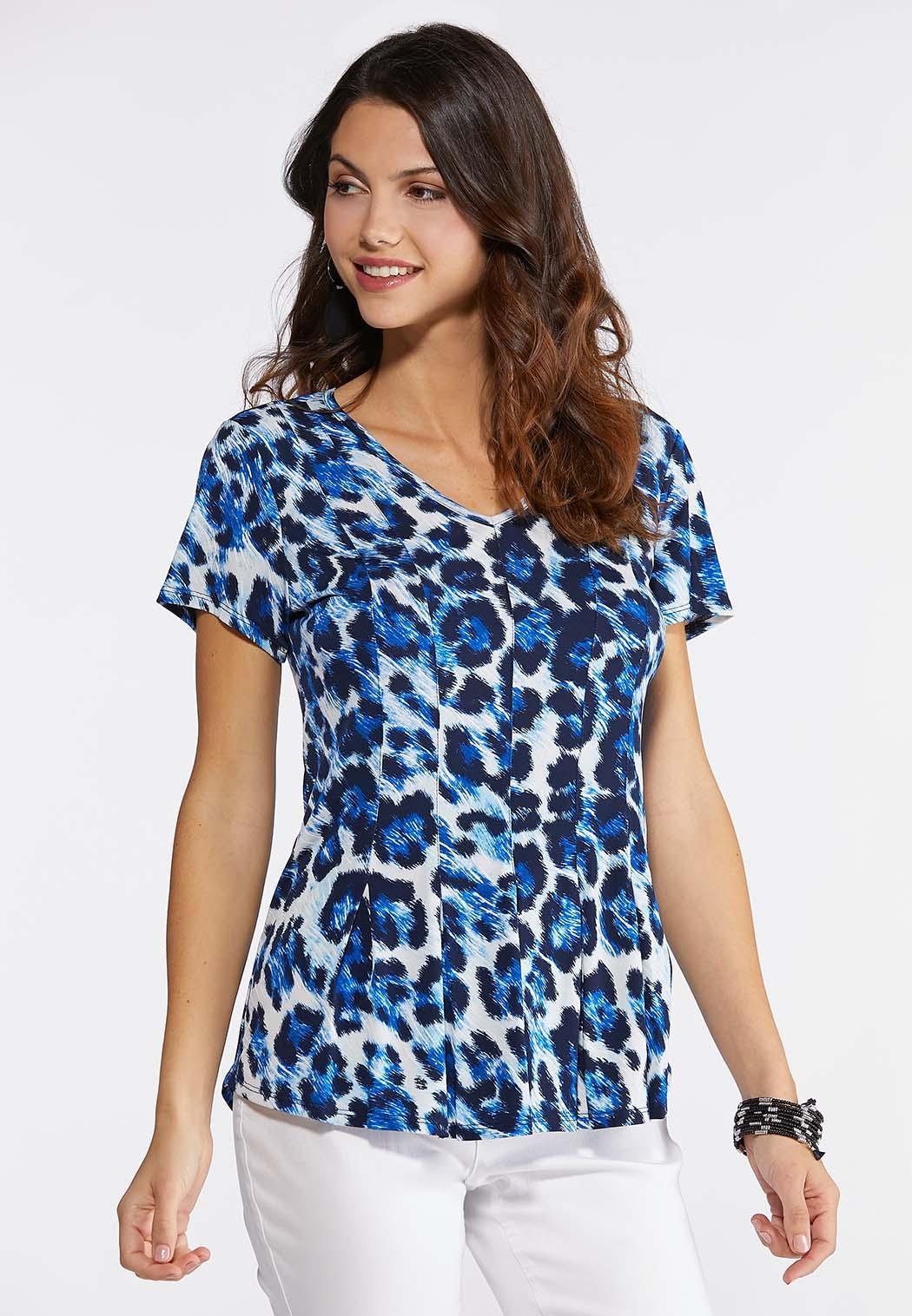 Blue Leopard Seamed Top