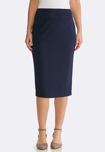 Plus Size Textured Pencil Skirt