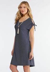 Plus Size Cold Shoulder Striped Knit Dress