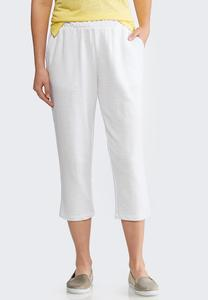 Cropped White French Terry Pants