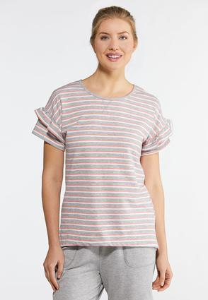 Plus Size Stripe Ruffled Sleeve Tee