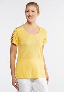 Yellow Lattice Sleeve Tee