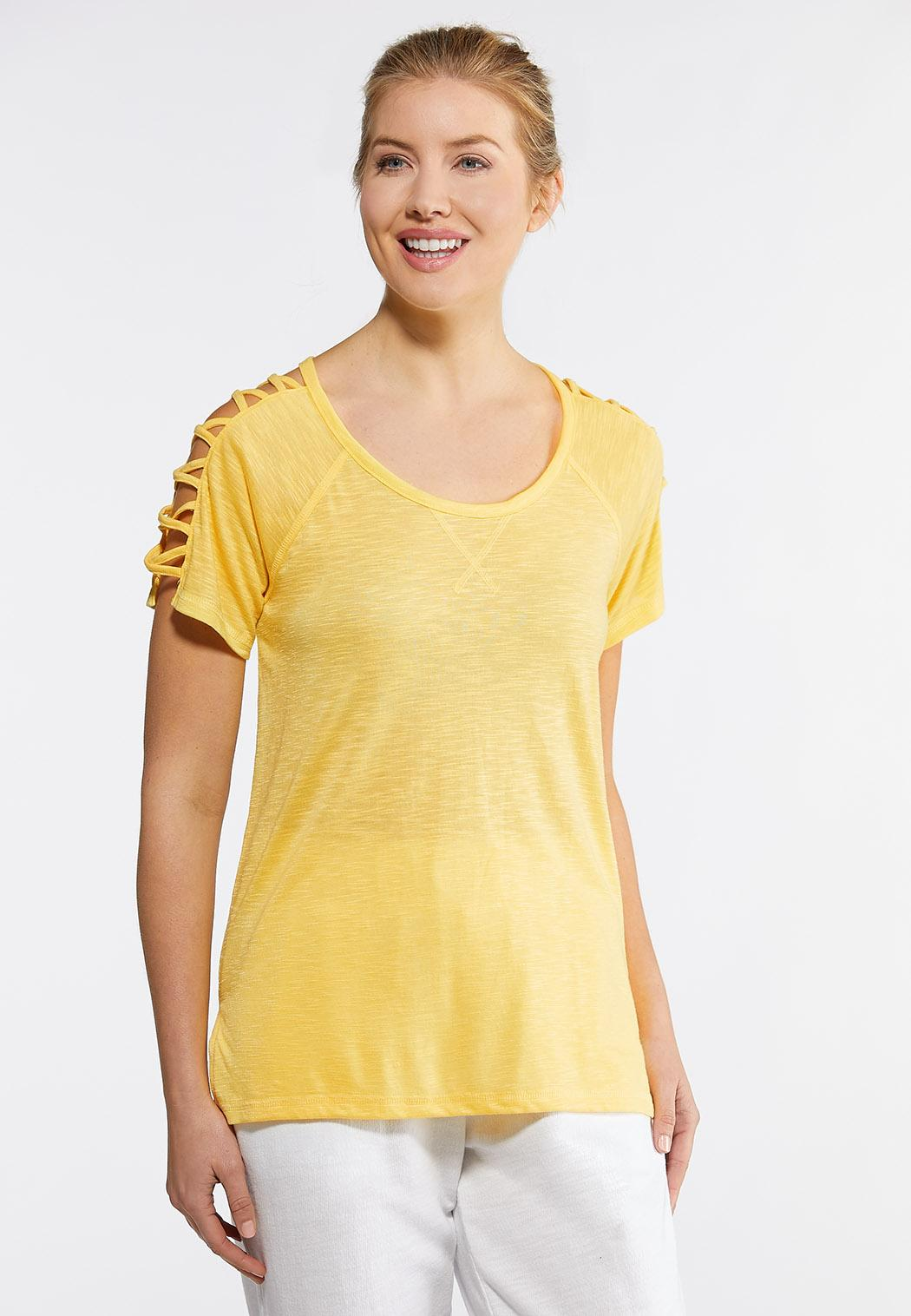 Plus Size Yellow Lattice Sleeve Tee