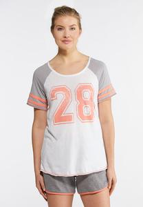 Plus Size Sporty Coral Gray Tee
