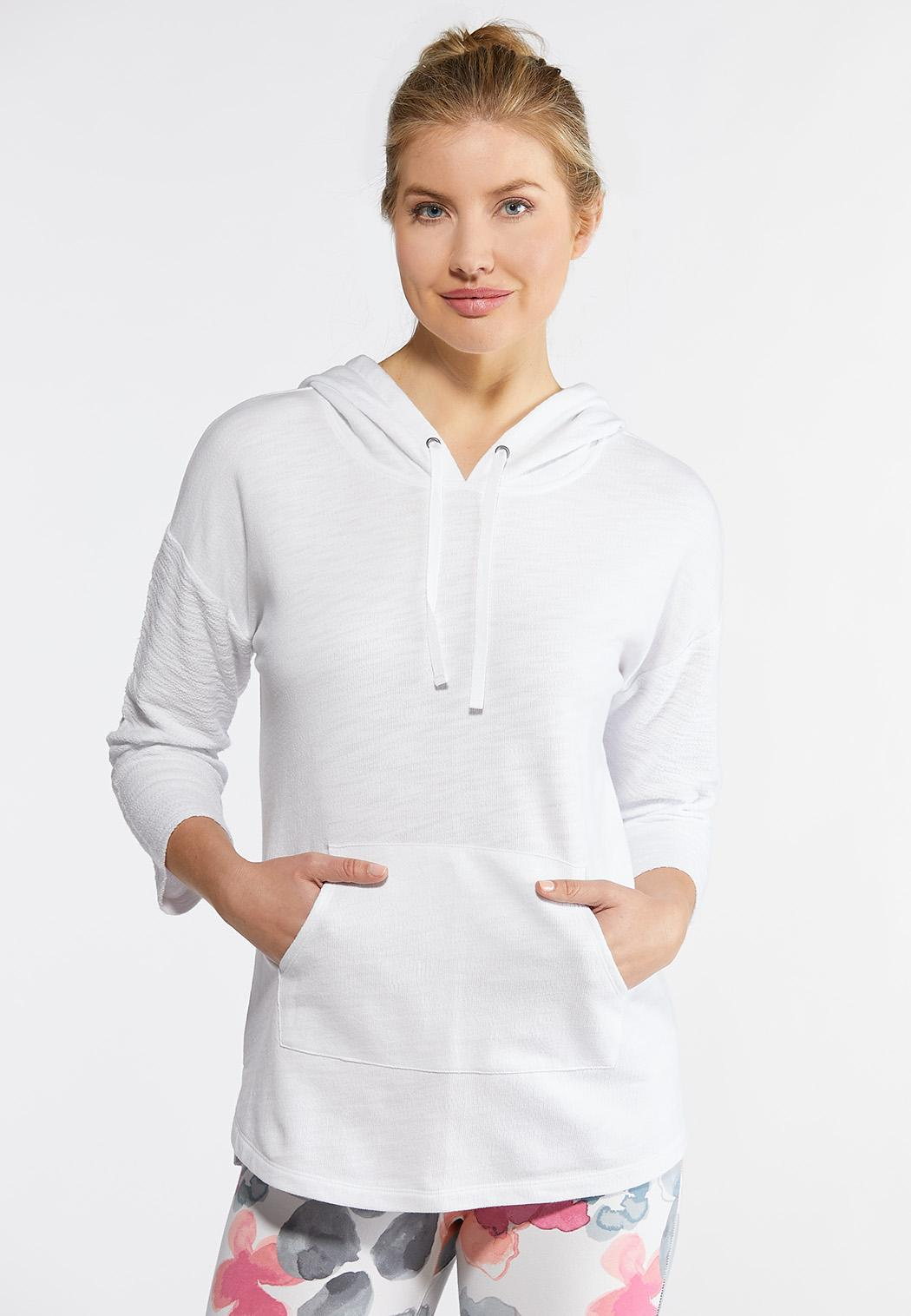 fed45194d83 Plus Size White Terry Hoodie Tops Cato Fashions