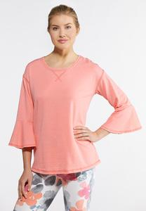 Plus Size Bell Sleeve Athleisure Top