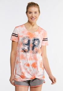 Plus Size Tie Dye Knotted Sport Tee