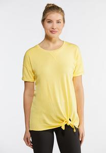 Plus Size French Terry Tie Front Tee