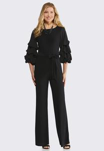 Bubble Sleeve Tie Waist Jumpsuit
