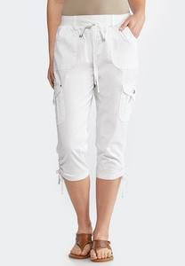 Cropped Cargo Drawstring Pants