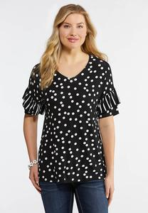 Plus Size Dotted Stripe Ruffle Sleeve Top
