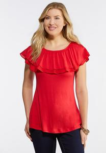 Plus Size Solid Flounced Off The Shoulder Top