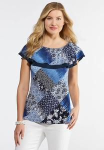 Plus Size Printed Flounced Top