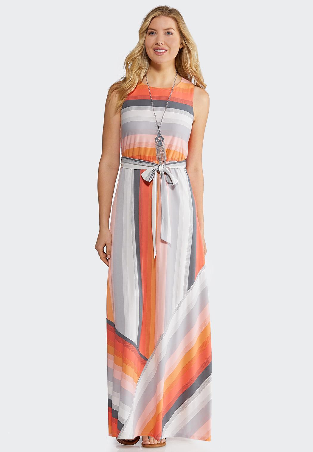740ba3afcd3 Petite Multi Stripe Maxi Dress Junior Misses Cato Fashions