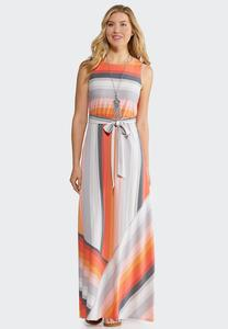Plus Size Multi Stripe Maxi Dress
