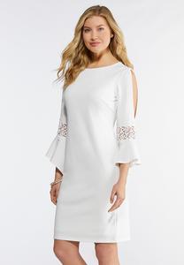 c9a5549a499129 Plus Size Cold Shoulder White Sheath Dress