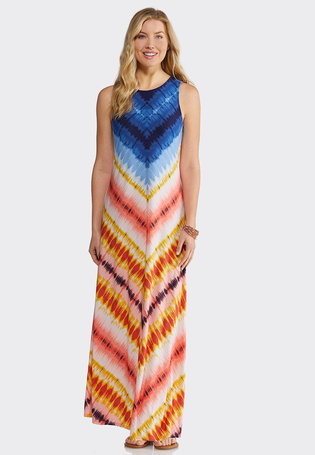 Plus Size Chevron Tie Dye Maxi