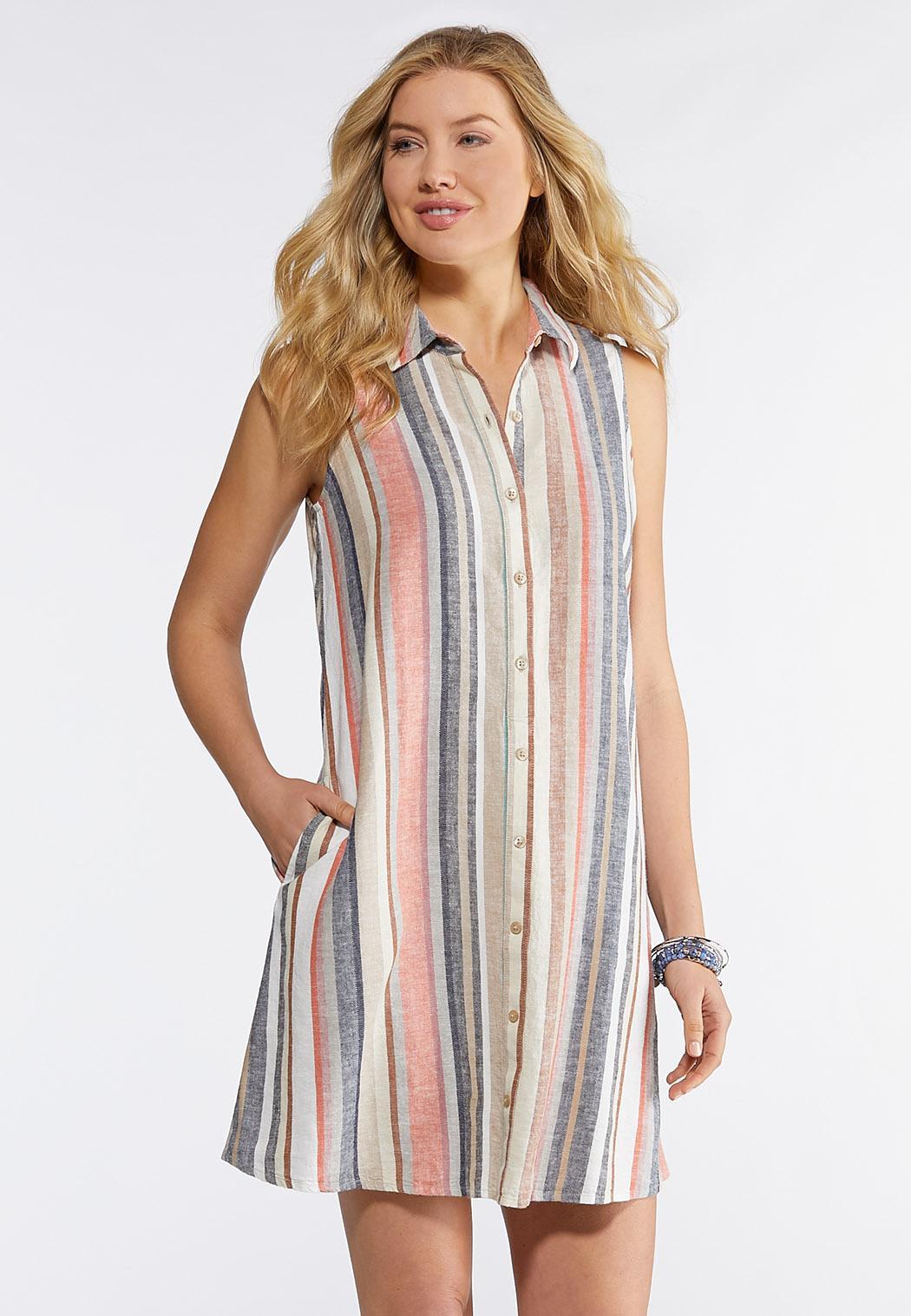 Plus Size Stripe Linen Shirt Dress Shirt Dress Cato Fashions