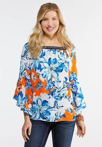 Plus Size Square Neck Tropical Floral Top
